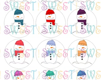 Edible Stick Snowmen Cookie, Cupcake, Oreo or Drink Toppers - Wafer Paper or Frosting Sheet