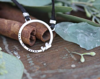 Endless Love hand cast mothers sterling silver and leather necklace