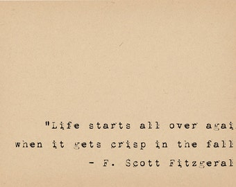 F Scott Fitzgerald Quote - Book Lover Art - Literary Art Quote Print - 1920s Flapper Writer Quote - Great Gatsby Author Typewriter Quote