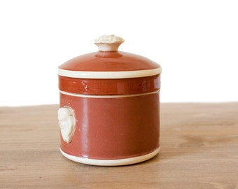 Vintage French SARREGUEMINES Terrine Jar || Brown and Cream Ceramic Terrine - French Country Home Decor - Farmhouse Kitchen Decor