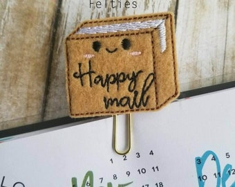 Happy Mail Package Felt Planner Clip, Machine Embroidered Felt Clip, Felties, Planner Accessories, Box Planner Clip