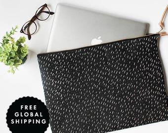 Modern Laptop Sleeve **FREE International Shipping** Specks Black Pattern - MacBook Case One Size Fits Most
