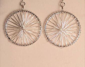 Silver Wire Wrapped Dangle Earrings