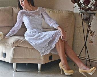 White Wedding Dress, 50s White Gown, Lace Wedding,Dress, Tea Length Dress, Short Wedding Dress,Handmade Tea Dress, Vintage, SuzannaM Designs
