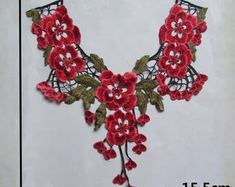 x 1 embroidered applique-guipure lace collar fine floral reddish sewing 42.5 x 15.5 cm @B17