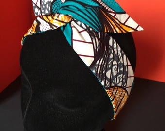 "Headband Hairband bunny ""black pin-up"" afroican wax fabric"