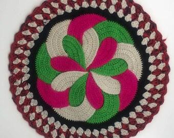 100% Hand Knitting Hot-Resistant Multi-Colors Round Woolen Pot Holders/Pot Mat/Hot Pad