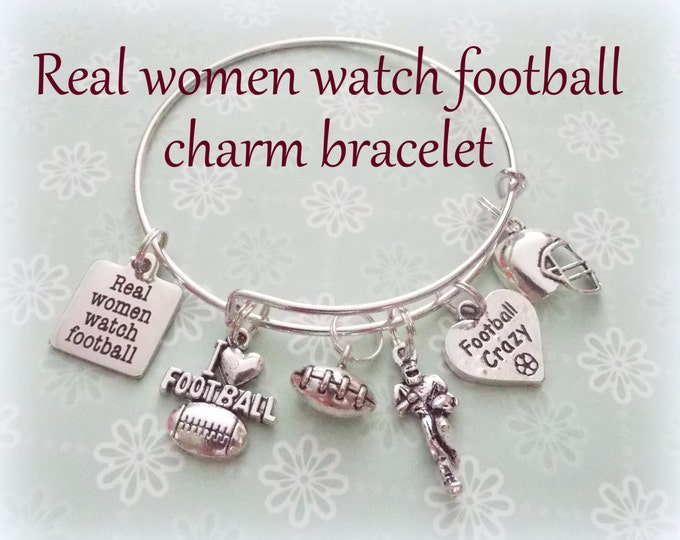 Football Lover Gift, Real Women Watch Football Charm Bracelet, Gift for a Football Lover, Womens Sports Gift, Gift for Football Lover