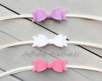 Felt Hair Bows, Baby Headband, Baby Bow Headband, Felt Bows, Newborn Headband, Infant Headband, Bow Headband Set, Baby Hair Bows, Itty Bitty
