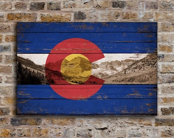 Colorado Mountains wood Flag Flags Rustic Flags wooden handmade sign Rockies Rocky sign decor sign wall decor cottage signs FREE SHIPPING