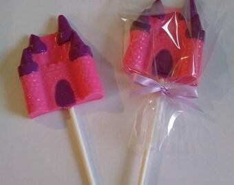 Princess castle chocolate lollipops