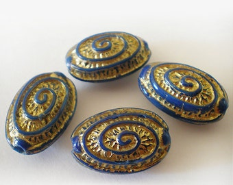 20x13mm Blue Gold etched Swirl design oval acrylic beads - 6pcs