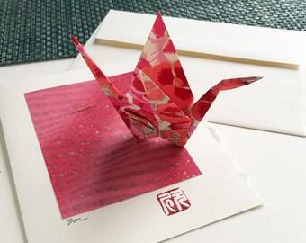 Origami Crane Card (hot pink)