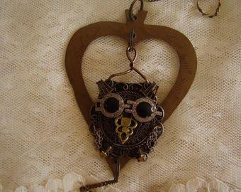 Brass METAL ART OWL Hanging/Steampunk