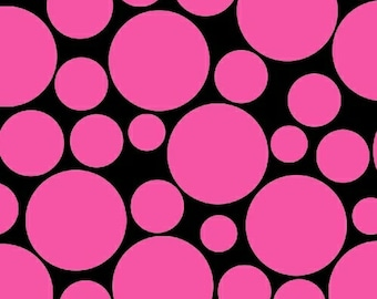 One Yard .Com or Dot Com - Mono Circus Dot in Pink - Polka Dot Cotton Quilt Fabric - by Whistler Studios for Windham Fabrics (W1234)