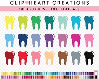 100 Tooth Clipart, Commercial use, PNG,  Digital clip art, Digital images, Rainbow scrapbooking, teeth clip art, dentist clip art, tooth