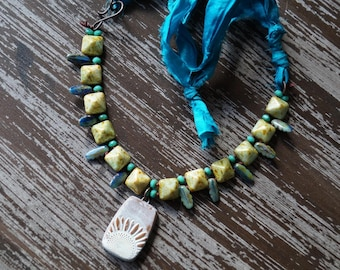 Sunflower Necklace - Silk Necklace - Teal and Green - Boho Knotted Necklace - Bead Soup Jewelry