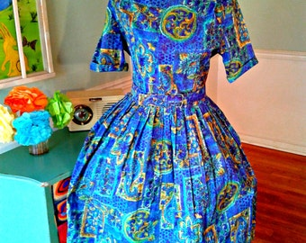"Vintage 1950's Pin up Dress / Novelty Print / Garden Party / Tea Party/ Wedding / ""Kay Whitney""  / Matching Belt / Md-Lg / B40 W30"