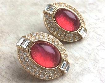 Vintage Oscar De La Renta Orange White Rhinestone Clip On Earrings