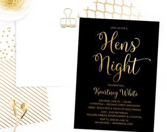 Hen's Night Invitation Printable, Hens Night Invitation, Hen Invitation, Hens Party Invite, Black Gold Foil Hen's Party Invitation