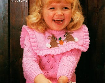 Knitting Pattern for Bunny Sweater Robin 13285