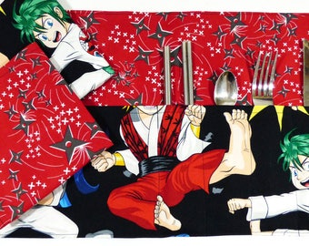 Anime Fighters Zero Waste Roll Up Placemat Set
