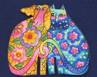 Set of Two Kindred Spirit Appliques (largest of 3 sizes)*Handmade*RARE Laurel Burch Fabric/F