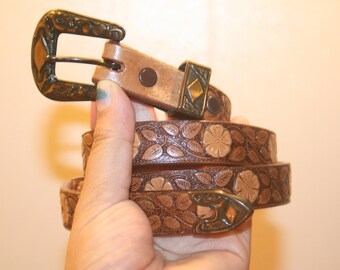 Tool Hippie Belt,floral belt,flower belt,flower power belt,tool leather belt,skinny leather belt,tool belt,tooled belt,tool belt leather