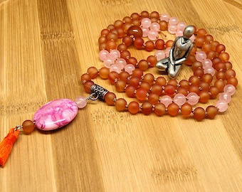 Carnelian Rose Quartz Mala Necklace • pink crazy lace agate pendant orange tassel charm •  108 beads mala • boho style meditation necklace