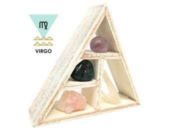 VIRGO Zodiac Crystal Set  / Astrology Stones and Wooden Geometric triangle shelf in Gift Box / Virgo Birth Stone Gift ~ 25