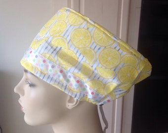 SURGICAL SCRUB HAT tropical lemon print with cotton candy ribbon for accent