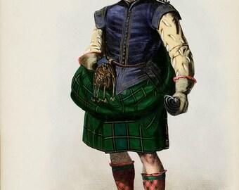 Clan Duncan  (Donchadh)  Scottish Highlander ~ Traditional Tartan and Arms ~ ca 1845 -  Giclee print