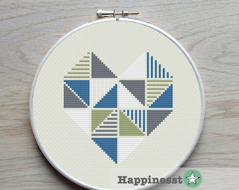 geometric modern cross stitch pattern heart,, tangram style, triangles, love PDF pattern ** instant download**