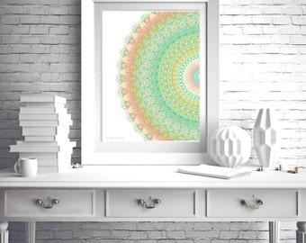 Green poster print geometric wall art abstract mandala turquoise light yellow laundry decor salmon pink bedroom art 8x10 print unframed 5x7
