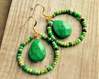 green stone hoops, boho jewelry, hippie earrings, beaded hoops, gold earrings, gift for her, gift for girlfriend
