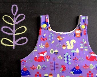 Baby overalls, toddler dungarees, purple yellow newborn romper, owl fox hedgehog forest baby shower, gender neutral coming home outfit