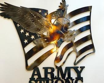Metal Wall Decor, Metal Wall Hangings, Metal Wall Art Decor, Army Strong Wall Art