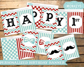 Personalized Little Man Mustache Party Banner