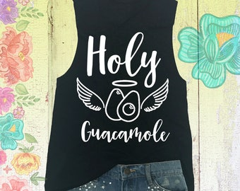 Holy Guacamole Muscle Tank. Workout Shirt. Gym Tank Top. Yoga Tank. Yoga Clothes. Fitness Clothes. Avocado Shirt. Funny Graphic Shirt.