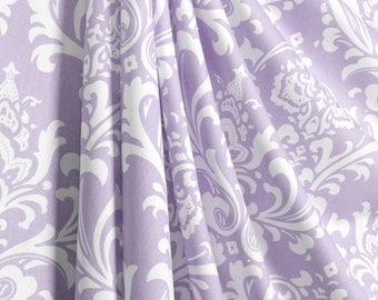 Pair (2 panels) designer drapes, curtain panels, Premier prints ozborne ozbourne, wisteria lilac and white, cotton