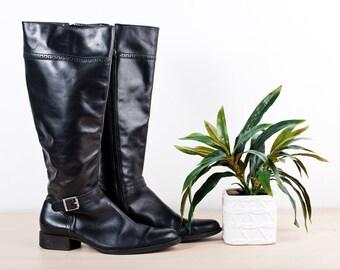 Black Vintage Boots Eyelet Leather Long Ralph Lauren - Size 8