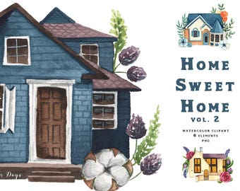 Watercolor Clipart - Home Sweet Home vol. 2. Houses. Illustrations. Real estate. Architecture. Floral elements, flowers.