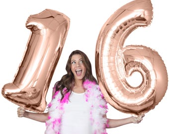 "Rose Gold 16th Birthday Jumbo Balloon Kit - 21st 30th 40th Birthday balloons, Sweet 16 Birthday Party, Teen Girl Birthday, 34"" Mylar Number"
