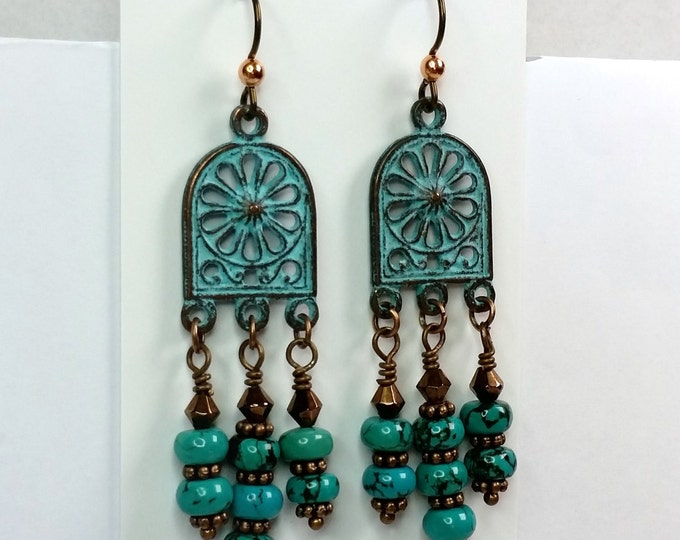 Arched Antique Copper Green Patina Chandelier earrings with Turquoise Dangles