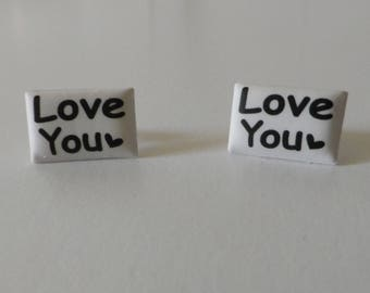 "Pair of earring ""love you"""