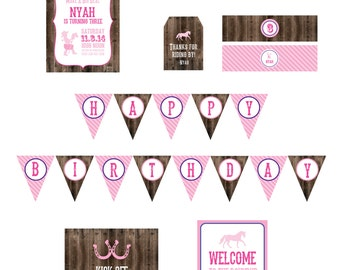 Cowgirl Party Printables- Western Party Printables- Cowgirl Party Decorations- Boots & Tutus Theme