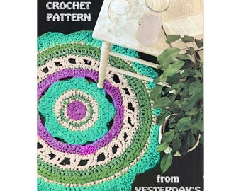 Instant Download PDF Crochet Pattern to make a Circular Daisy Rag Rafia or Jute Rug Garden Mat Conservatory Hippy Flower Power