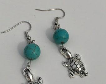Sea turtle earrings, turtle earrings, sea life earrings, ocean earrings, beach earrings, turtle jewelry, beach jewelry, Sea turtle jewelry