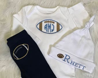 Newborn Boy coming home outfit, Newborn football Outfit, Baby football Outfit