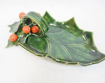 Holly with Berries Large Relish / Candy Dish Handmade Decorative Ceramic Tile Holiday Decor